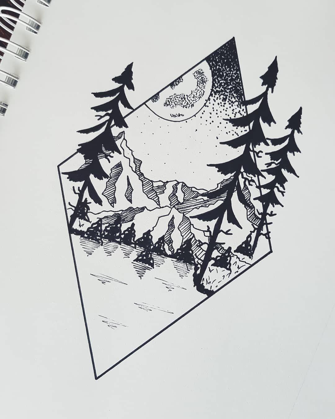 Gory Lasy Jezioro Wszystko Najlepsze W Jednym Artwork Art Forest Tattoo Project Moon Lake Bestofthe Lake Tattoo Mountain Tattoo Tattoo Drawings
