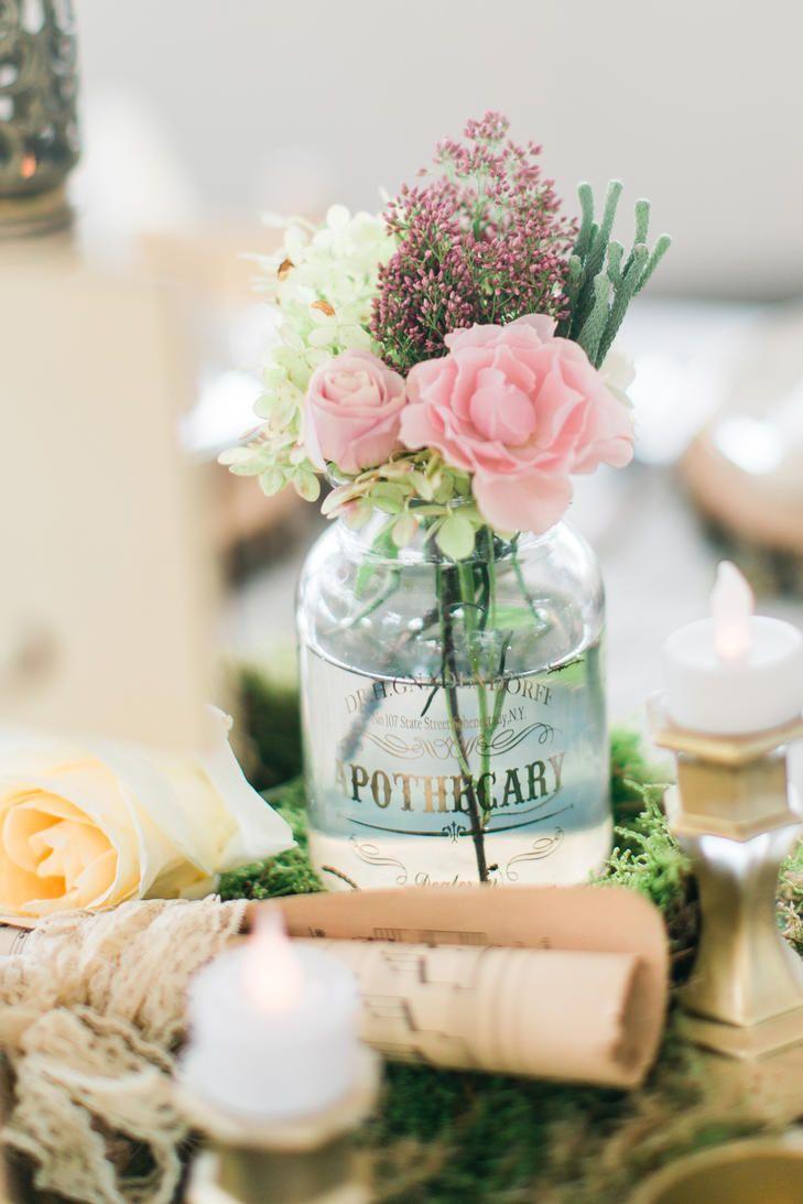 bud vase centerpiece in apothecary jar flowers pink wedding rh pinterest com