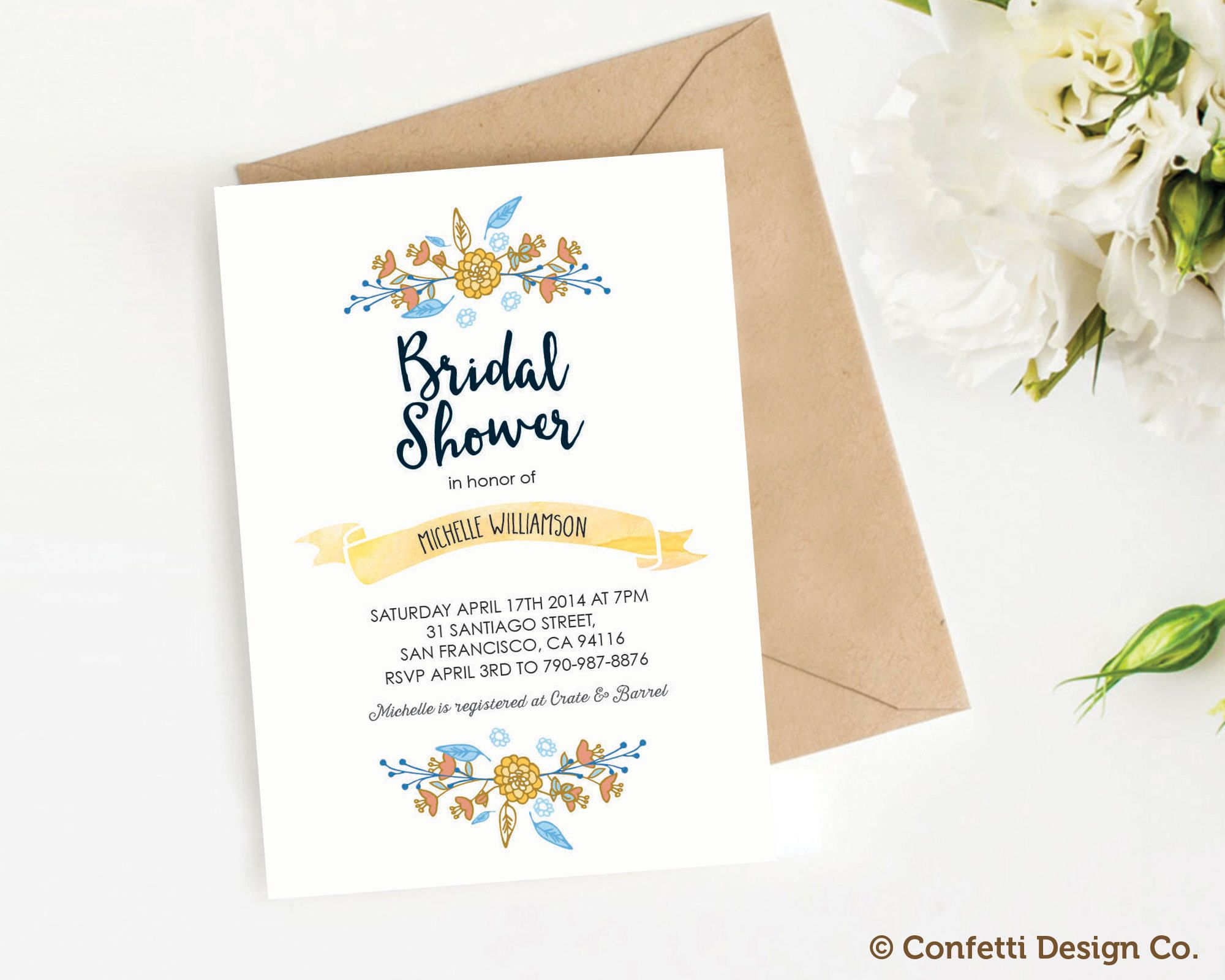 custom bridal shower invitation floral yellow and blue diy printing