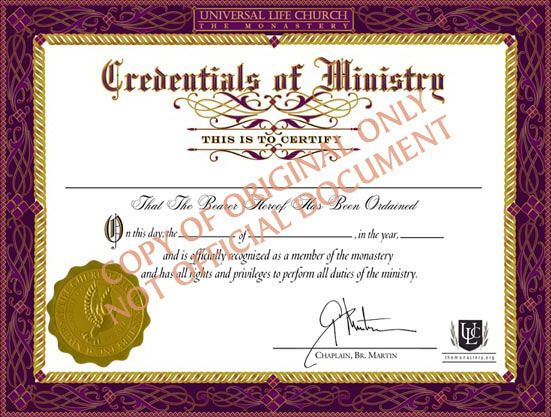 Become a ordained minister online