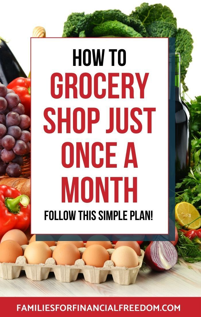 Learn the simple tips for how to grocery shop just once a month to save money and time! Save money on groceries with these simple tips to make cheap meals! Find cheap food ideas with these helpful tips and grocery shopping printables! #cheapfood #cheapmeals #cheapmealsonabudget #cheapmealsprep #cheapdinners #savemoney #savemoneyongroceries #savemoneyonfood #budgeting #savingmoney