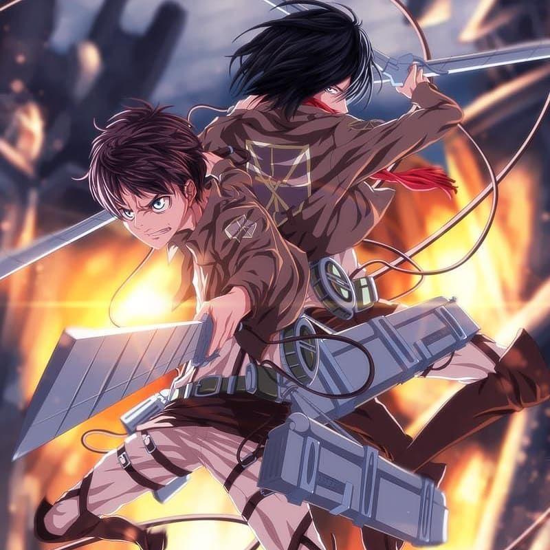 Character: (Left). Eren Jaeger (Right). Mikasa Ackerman in ...