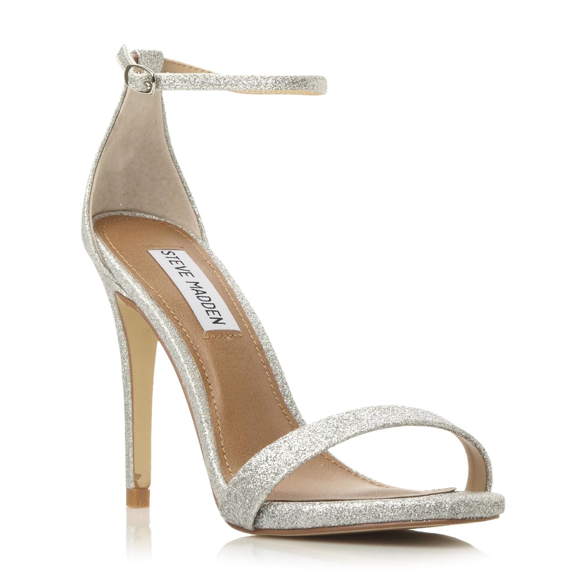 71b374440f6 STEVE MADDEN STECY SM - Two Part Ankle Strap Heel Sandal - silver ...