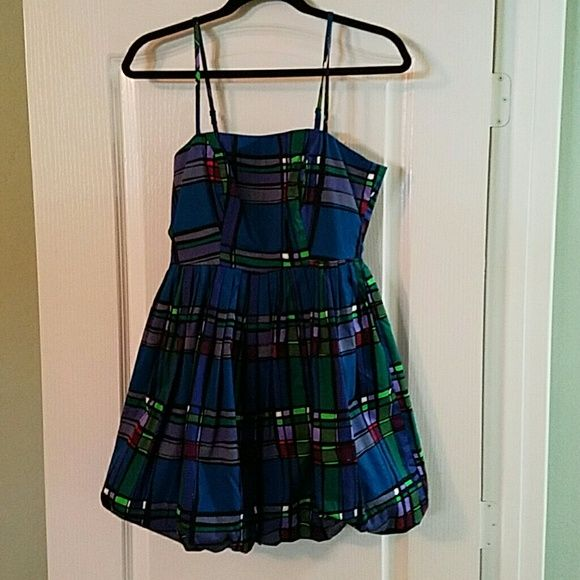 Perfect Party Dress Multicolored with black silk lining. The bottom is puffy.   Heavy duty zipper. I only wore it once. Looks really cute with black leggings and black stilettos! Charlotte Russe Dresses Midi