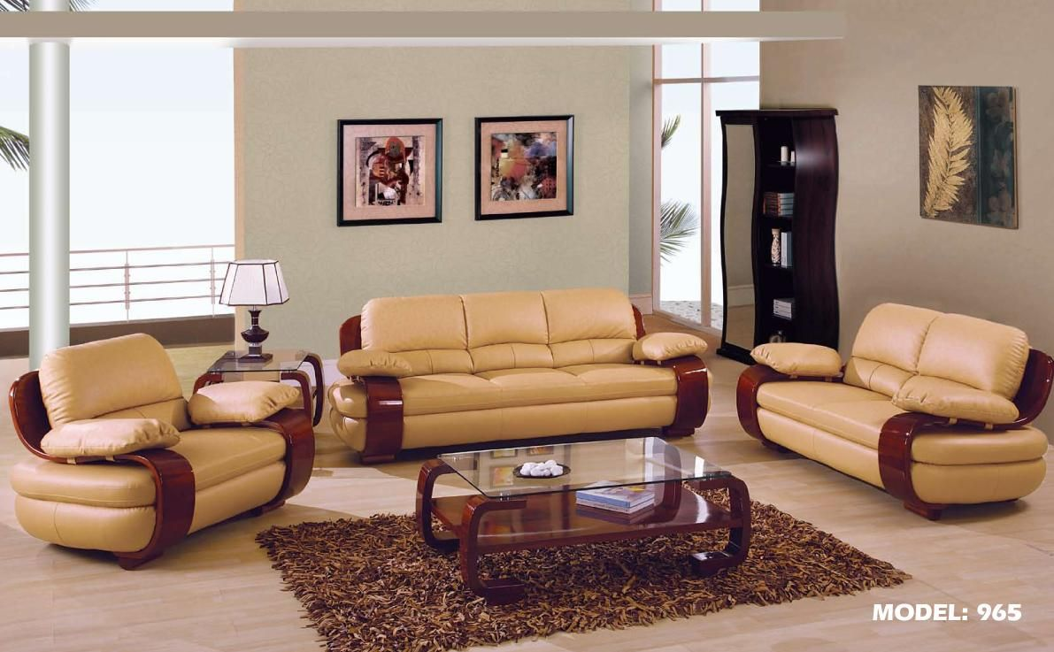 $1876 2 pcs tan leather living room set (sofa and loveseat)