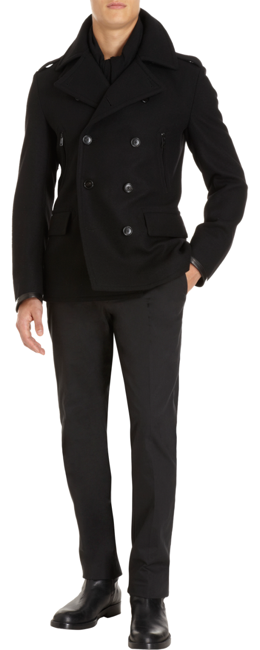 Ralph Lauren Black Label Leather Trimmed Double-Breasted Peacoat