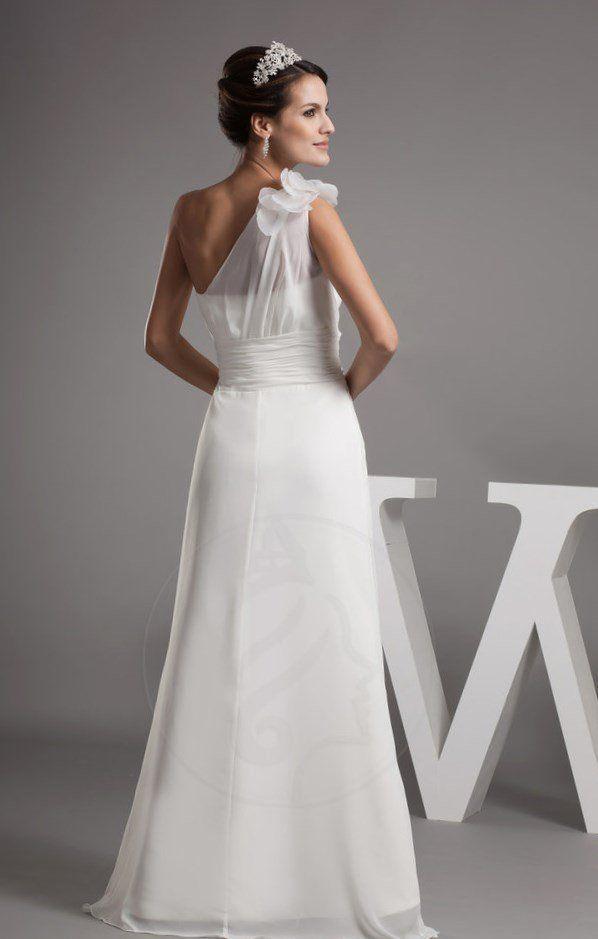 Leben asymmetrisch bodenlanges Brautkleid mit Seite Drapierung mit ...