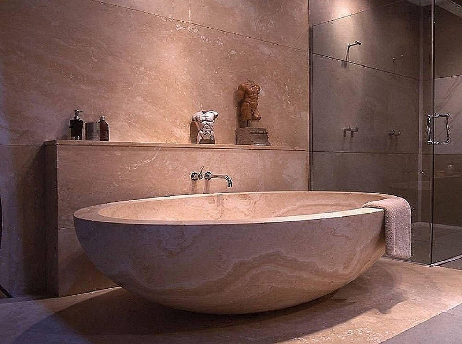 Great Badewanne aus Travertin Mediterran Badezimmer von Struker Fliesen