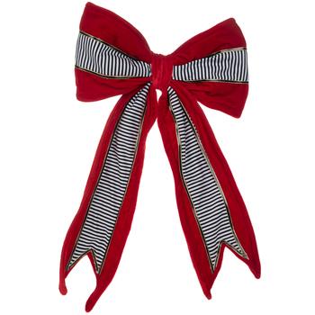 Red Velvet & Striped Bow Red velvet, Bows, Velvet