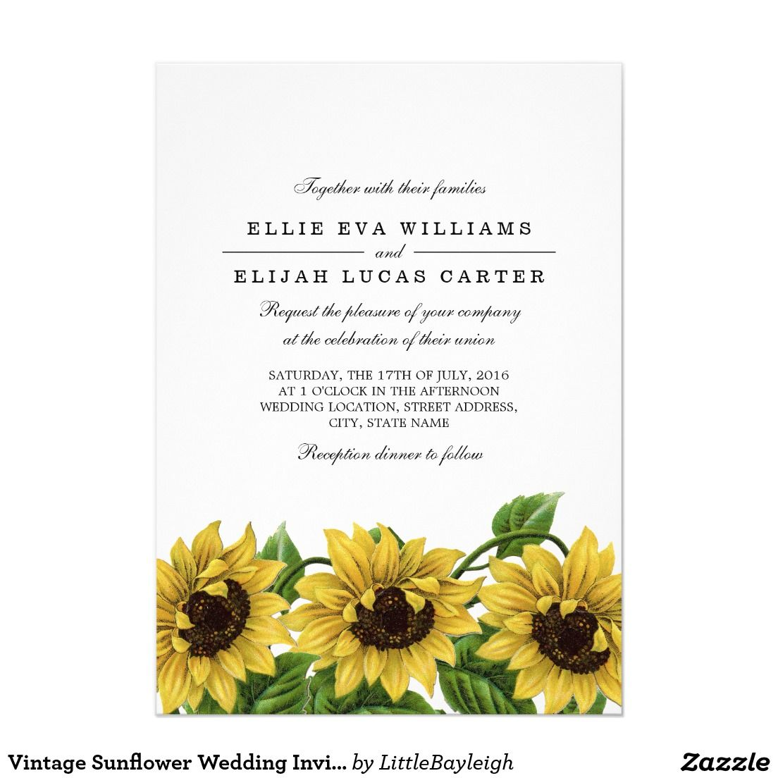 Vintage Sunflower Wedding Invitations Sunflower Wedding