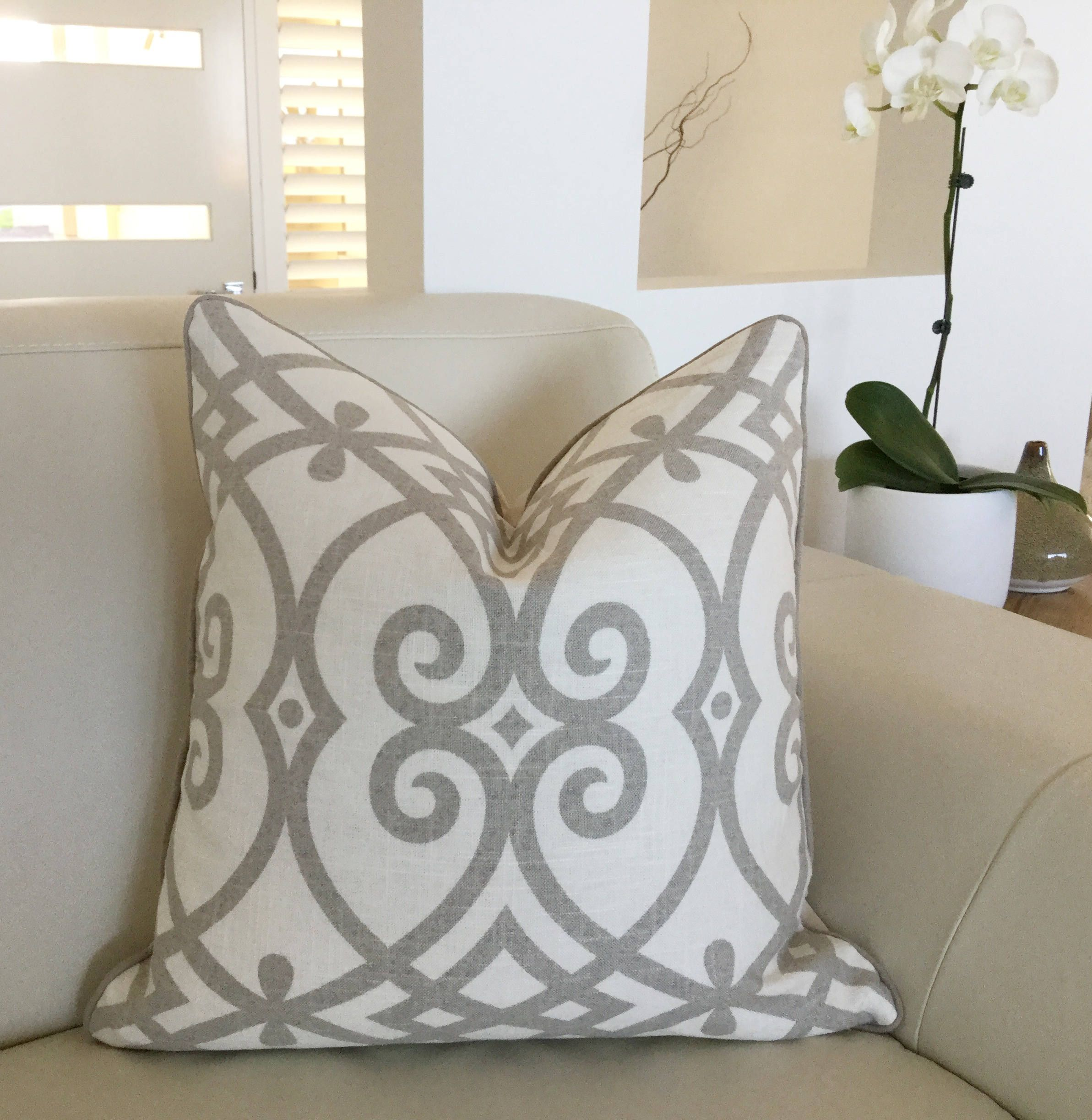 Hamptons Style Cushions Hampton S Pillows Dove Grey Geometric