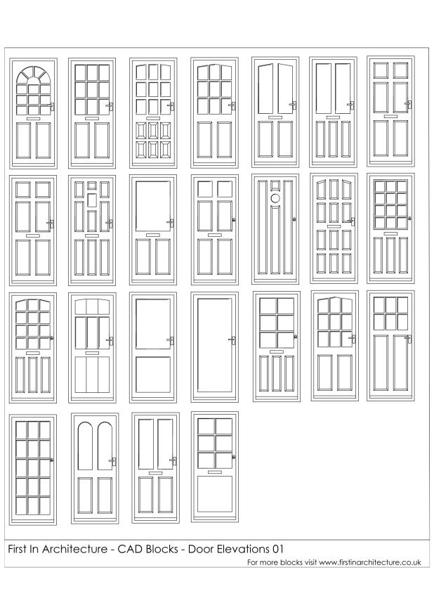 Front Elevation Autocad 2d : Fia door elevation cad blocks d wireframe