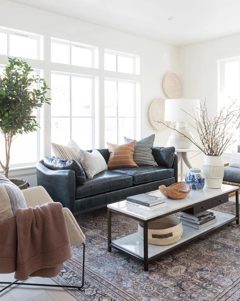 Warner Leather Sofa Farm House Living Room Living Room Scandinavian Living Room Inspiration