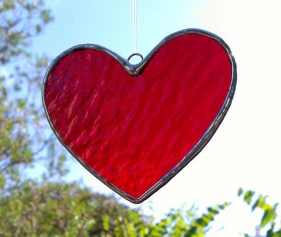 e57035e1132f Red Heart Stained Glass Suncatcher Valentine Gift for Her Home Decor  Housewarming Hanging Garden Dec