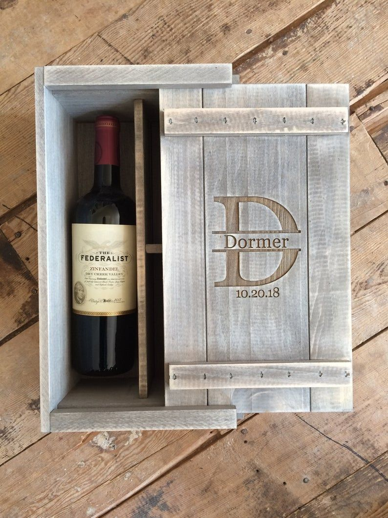 Personalized Wooden Wine or Whiskey Glass Gift Box Etsy