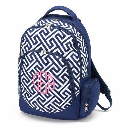 Navy Greek Key Monogrammed Backpack - GirlyTwirly.com