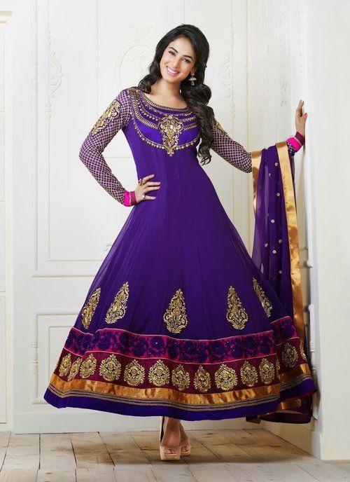 47445e1d4 Sonal Chauhan - Designer Georgette Purple Anarkali Salwar Kameez ...