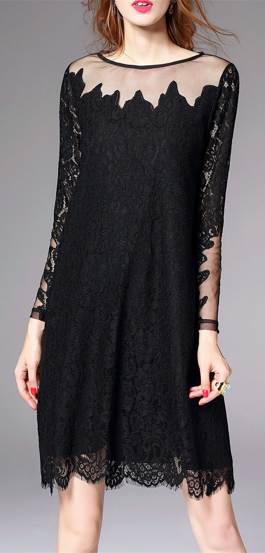 See thru lace trapeze dress style clothes sleeved dress and clothes