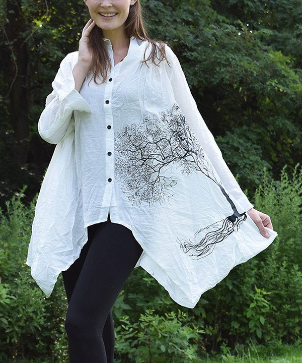 Look at this Simply Couture White Tree Sidetail Button-Up on #zulily today!