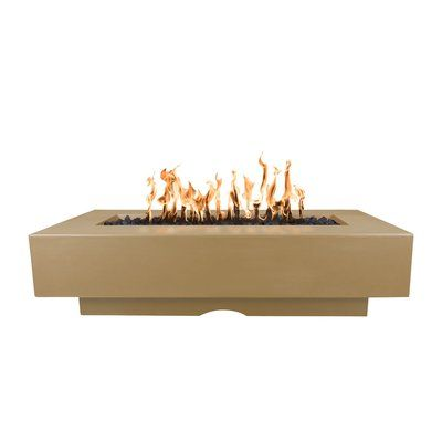 Photo of The Outdoor Plus Del Mar Concrete Fire Pit Table Size: 15″ H x 84″ W x 28″ D, Finish: Brown, Fuel Type: Natural Gas