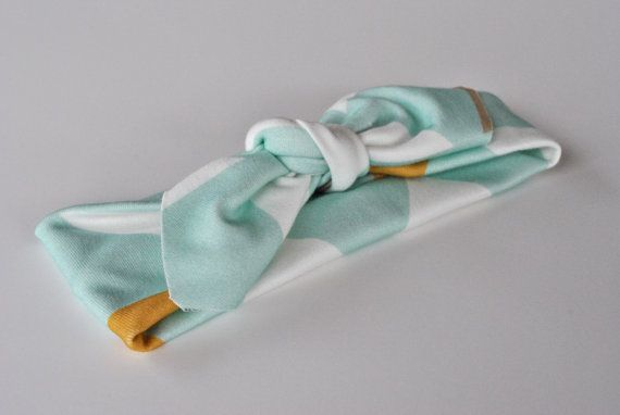 Organic Infant Girl / Toddler Headband - Aqua Triangle Print - Organic Knit - Stretchy Headband