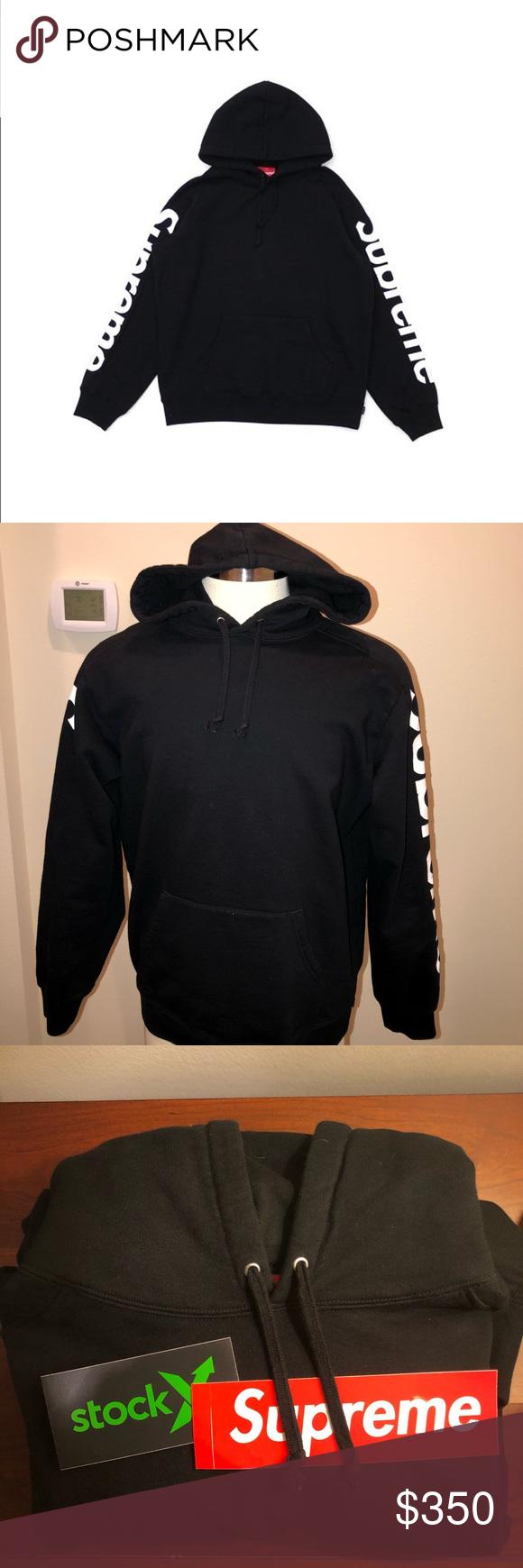 Supreme Sideline Hooded Men S Size Large Black Sweatshirts Supreme Shirt Sweatshirt Shirt [ 1740 x 580 Pixel ]