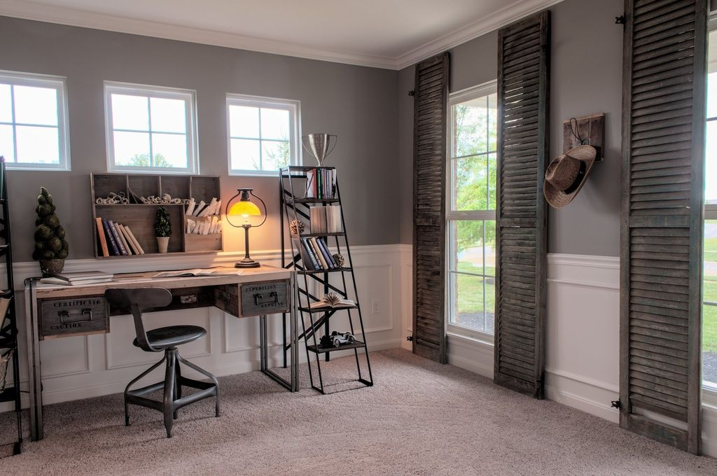 Country Home Office With High Ceiling Rustic Industrial Reclaimed Wood Pipe Desk Crown