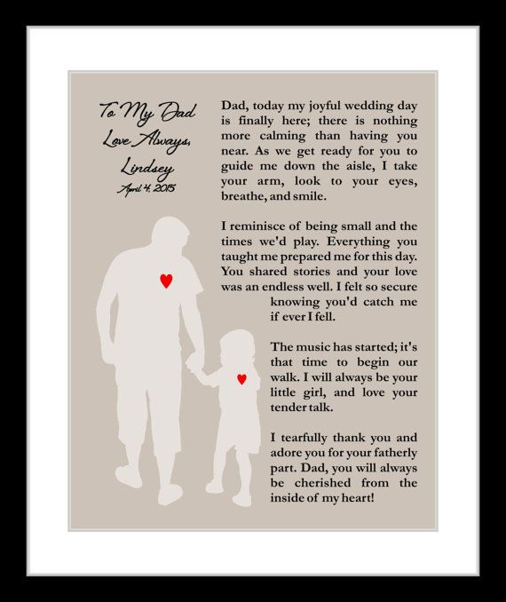 Personalized Father Of The Bride Wedding Thank You Gift Poem Presents Under 20 For Dad Unique