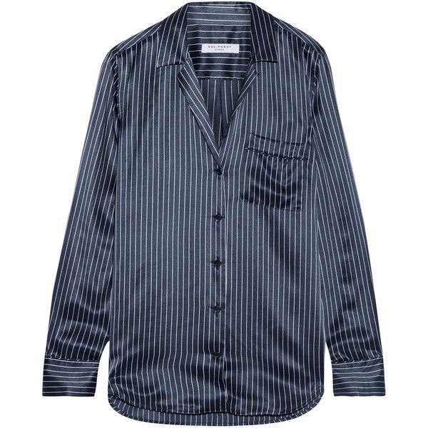 Silk Equipment 2 Pockets Striped Shirt Black