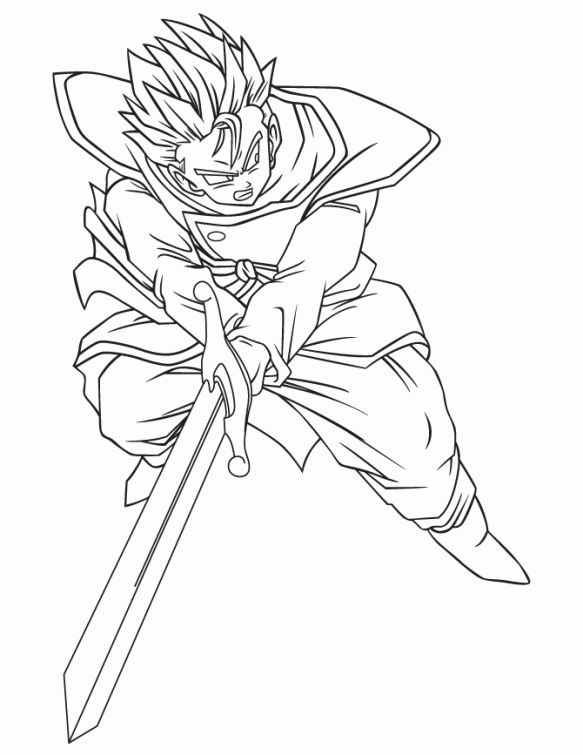 Gohan with Zeta sword in Dragon Ball Z printable coloring page ...