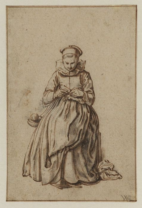 """""""Woman Knitting"""" by Willem Pietersz Buytewech (17th century) at the Courtauld Gallery, London"""