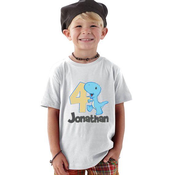 Personalized 4 year old blue Dino birthday  boy by shirtsbynany, $14.99
