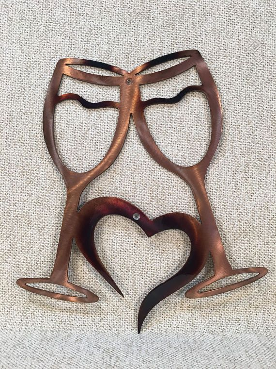 Wine Glasses W Heart Metal Wall Art Bar Or Kitchen Decor Etsy In 2020 Metal Tree Wall Art Metal Wall Art Metal Tree