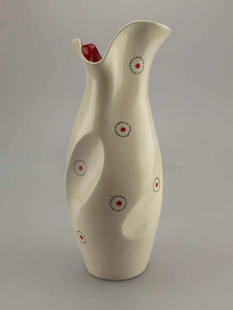 Vintage Burleigh Ware Jug Vase Burslem 50s Red Black Cream