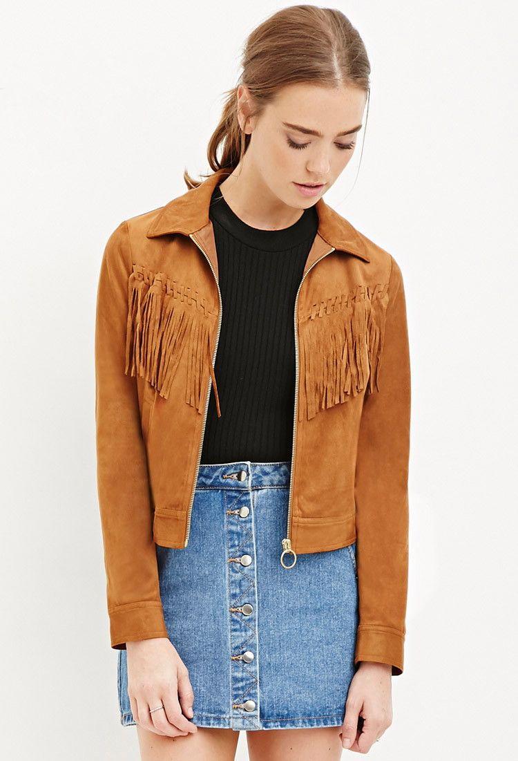 966f6323773 Fringed Faux Suede Jacket