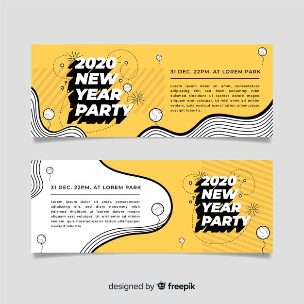 Flat design of new year 2020 party banners Free Vector   Free Vector #Freepik #vector #freeparty #freedesign #freehand #freebanners