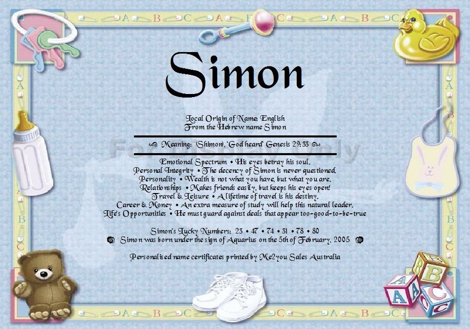 Personal First Name Meaning Certificates - New Born Boy Have any ...