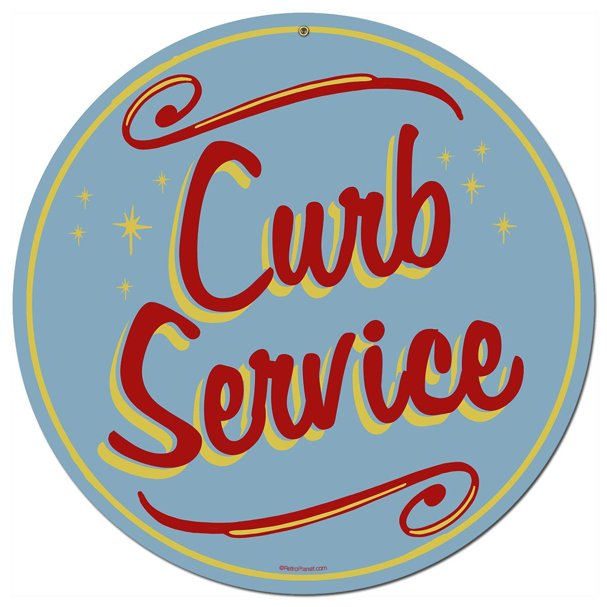 Curb Service Drive-In Large Metal Sign Round | Vintage diner, Diners ...