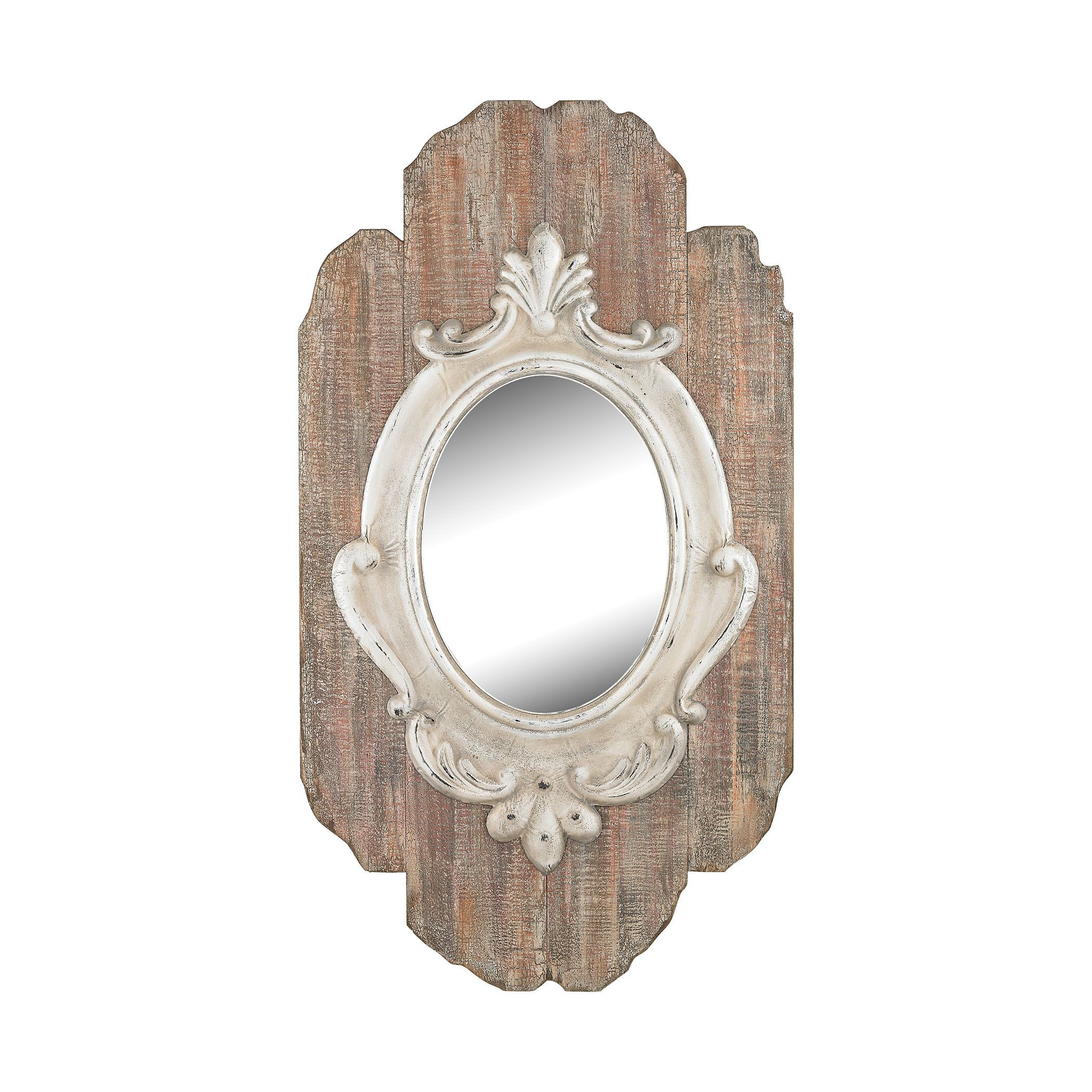 Sterling Industries Dimond Home Villeneuve Silver Weathered Wood Wall Mirror (Weathered Wood, Antique Cream), Brown
