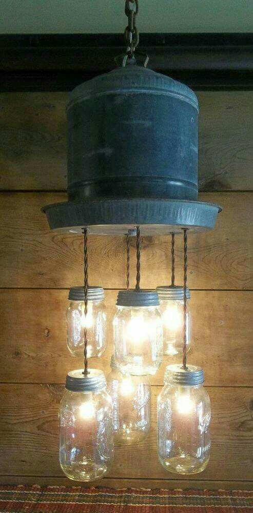 interesting bathroom light fixtures%0A Galvanized Chicken Waterer and Mason Jar Light Fixture