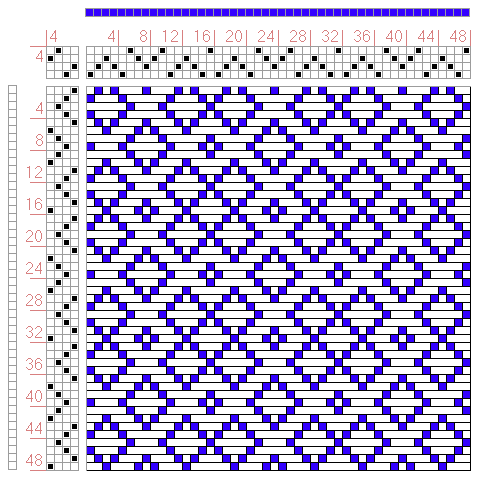 Hand Weaving Draft: Figure 446, A Manual of Weave Construction, Ivo Kastanek, 4S, 4T - Handweaving.net Hand Weaving and Draft Archive