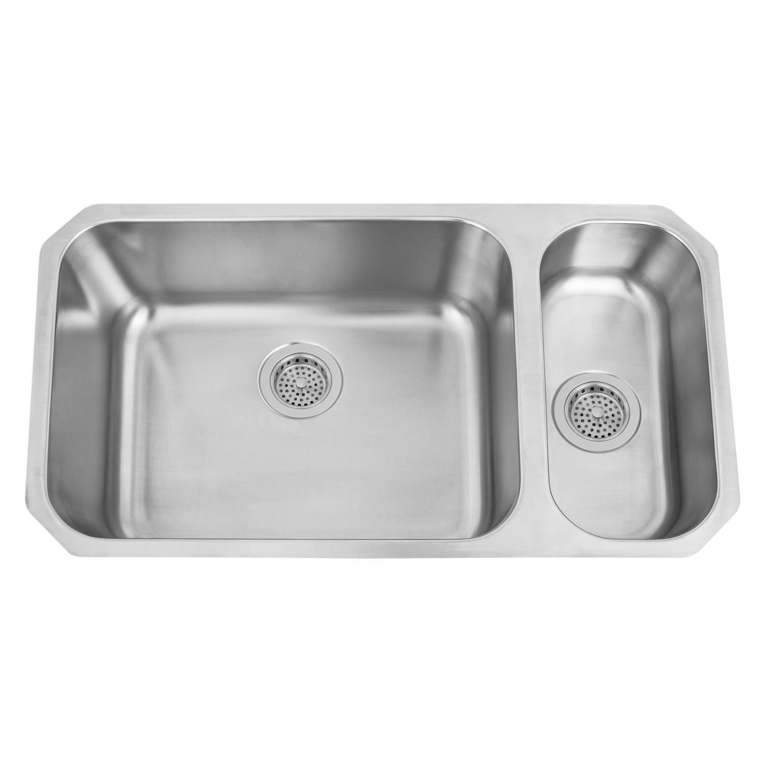 32 Infinite Wide 80 20 Offset Double Bowl Stainless Steel