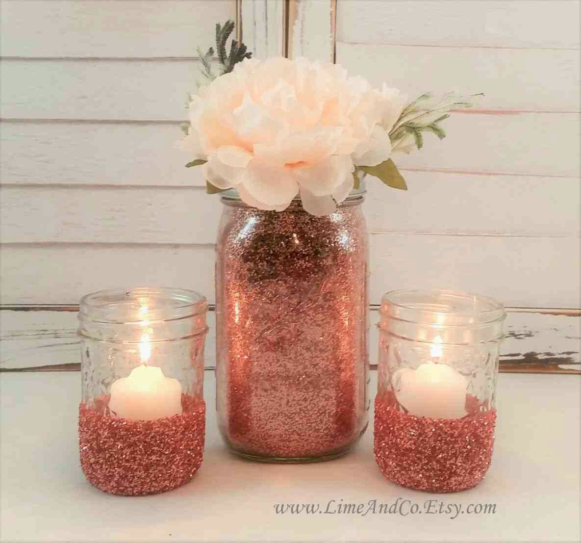 Pin By Esther On Wedding Center Pieces Rose Gold Party Rose Gold Baby Shower Rose Gold Centerpiece