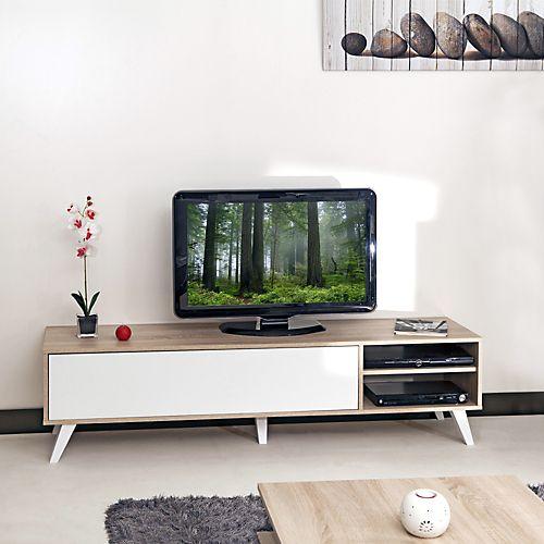Meuble Tv Style Scandinave Coloris Chene Blanc L165cm Sopra Meubles Tele Meubles Accessoires Tv Idee Deco Meuble Tv Meuble Deco Meuble Tv Style Scandinave