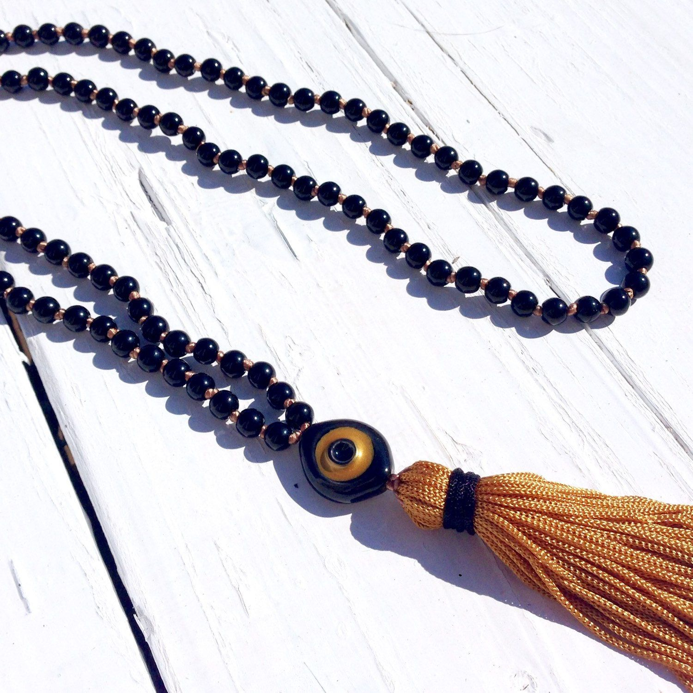 Evil eye black beaded long necklace Tassel protection amulet women necklace