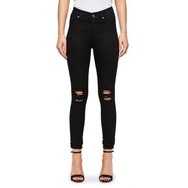 Cheap Monday Women's 'Mid Spray' Mid-Waisted Jeggings - Rip Black ($86) ❤ liked on Polyvore featuring pants, leggings, black, skinny jean leggings, black ripped leggings, jeggings leggings, black denim leggings and black skinny jeggings