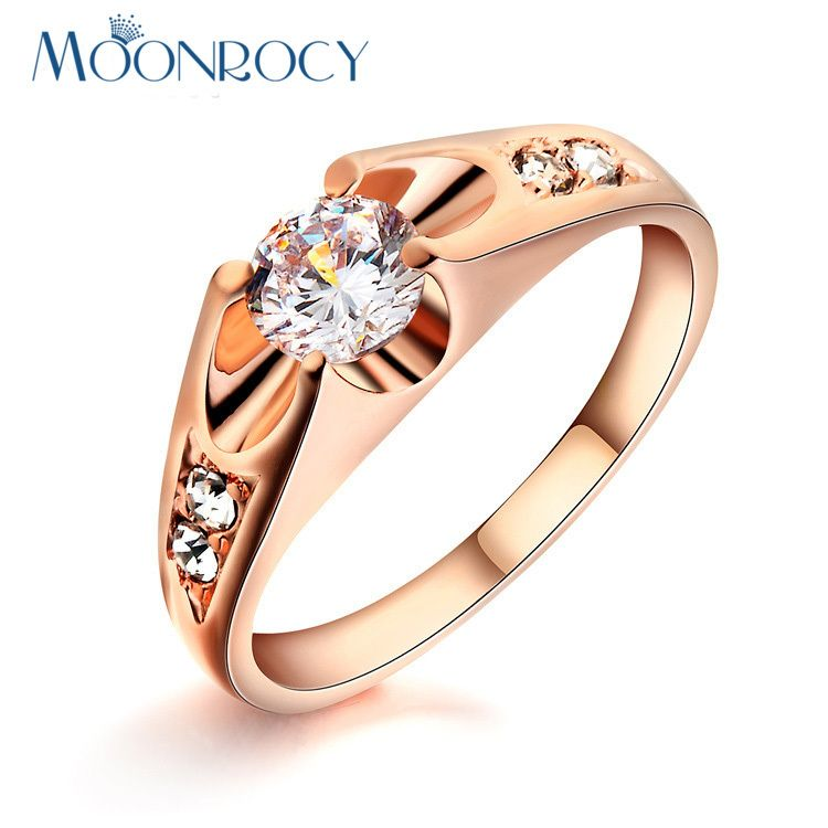 Moonrocy Free Shipping Rose Gold Color Zirconia Fashion Austrian