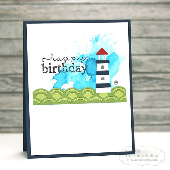 Happy Birthday Card by Courtney Kelley #Cardmaking, #Birthday, #CAS, #Masculine, #Watercolor, #LittleBitsDies, #TE, #ShareJoy