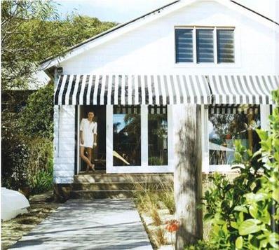 Suburban Bliss Striped Awnings Beach House Exterior House Awnings House Exterior