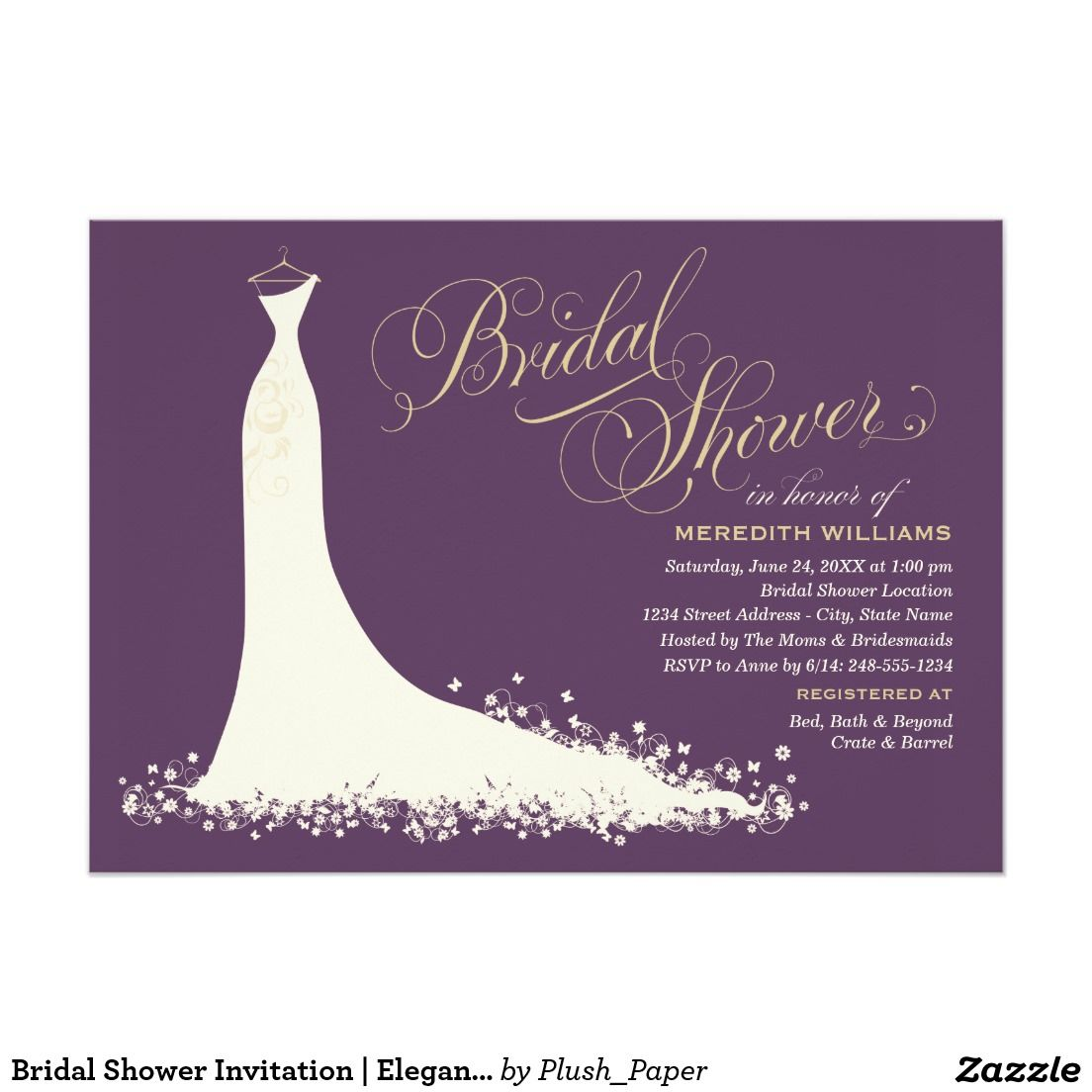 wedding shower invitation samples   elegant wedding gowns, shower